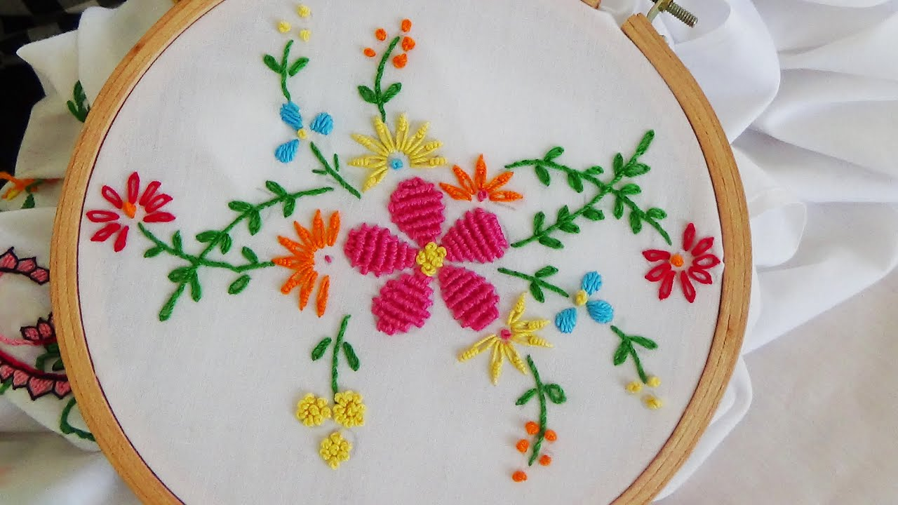 Hand Embroidery Flower Stitch Bullion Lazy French Knot Youtube