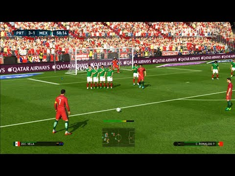 PES 2017 | Portugal vs Mexico | C.Ronaldo 2 Free Kick Goal & Poker & Full Match | Gameplay PC