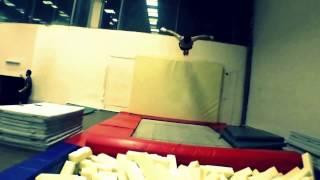 Stunts on a trampoline