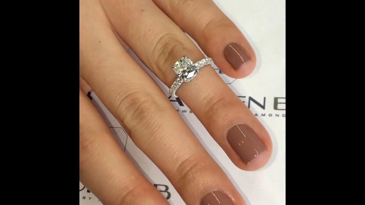 150 Ct Cushion Diamond Engagement Ring In 3row Pave Lauren B Jewelry