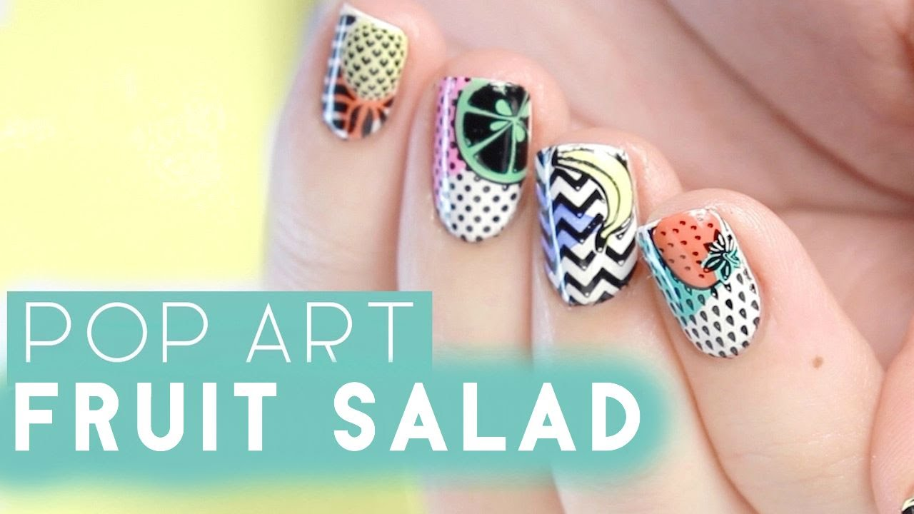 Pop Art Fruit Nail Art | MoYou London Demo - YouTube