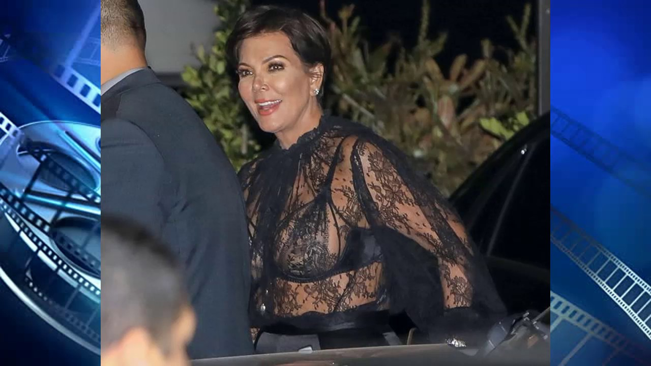 Bold Kris Jenner 61 Flashes Lacy Bra In Totally See Through Top At