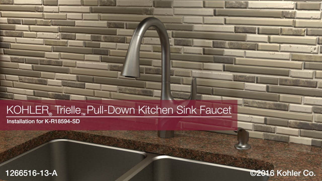 kohler kitchen sink faucets pre made cupboards installation trielle pull down faucet youtube