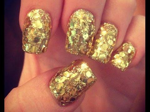 Uñas Navideñas De Oro