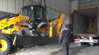Loading 2x JCB Backhoe loaders in Container