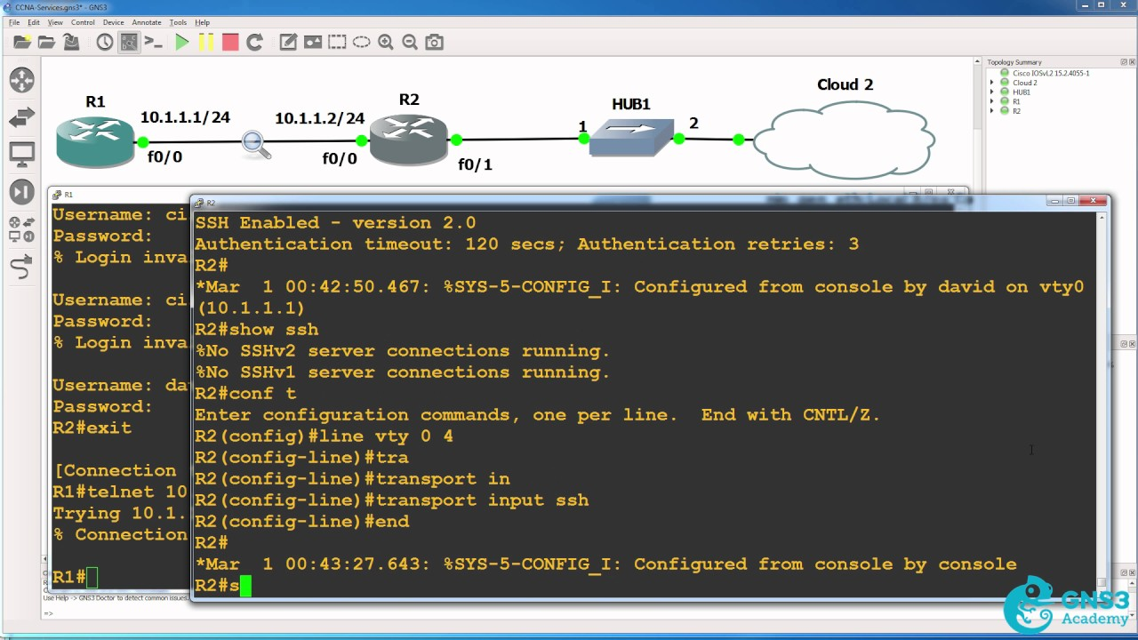 SSH configuration and Wireshark captures - Telnet bad, SSH good  Pass your  CCNA Exam