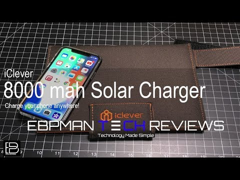 iClever Solar Charger 8000mah Solar Battery for the iPhone X, Note 8, LG V30 , smartphone or tablet