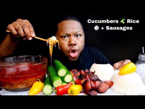 Cucumber + Rice and Sausage + Dippin Dash Butter Sauce | Mukbang
