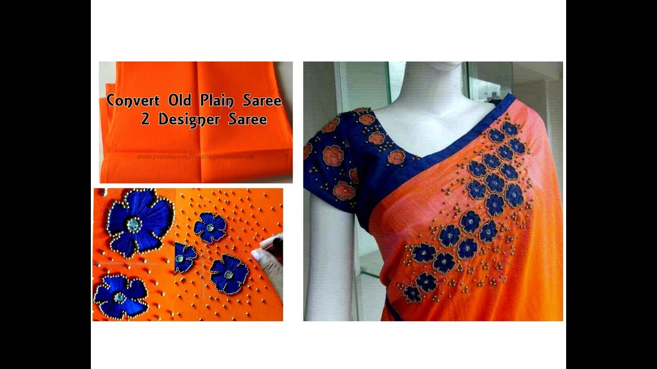 Creative Designer Sari Making At Home Simple Easy Hand Embroidery