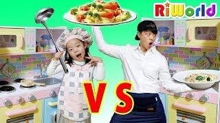 [요리 배틀] 리원이와 아빠의 요리대결 1탄, 콩순이 믹서기 주방놀이 장난감 놀이 Cooking Contest Kitchen