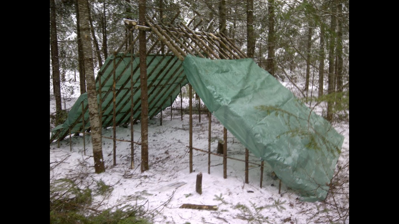 Double lean to semi long term shelter - YouTube