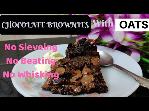 CHOCOLATE BROWNIE | Simple Oats Brownies | Healthy Brownie Recipe |BROWNIE RECIPE
