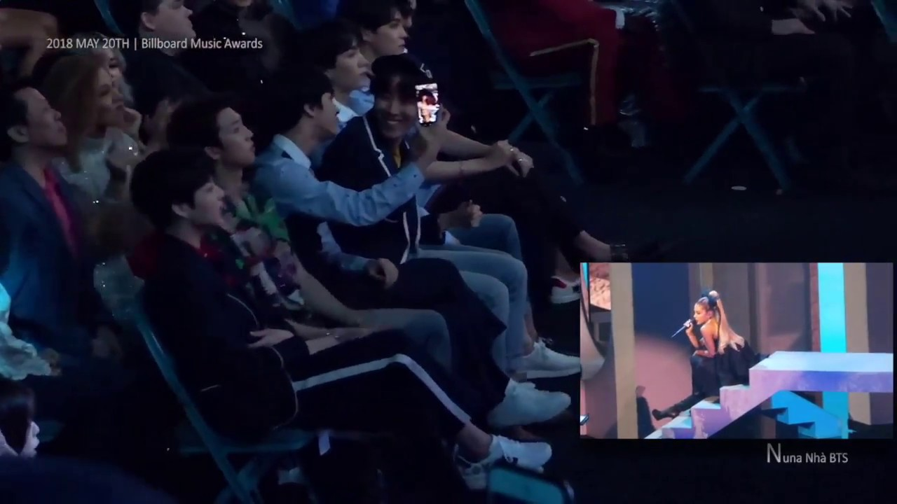 Fancam Bts Reacts To Ariana Grande No Tears Left To Cry At The Bbmas 2018