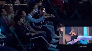 [Fancam] BTS reacts to Ariana grande