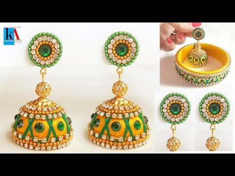 How to make Bridal silk thread Jhumkas at home //  jhumkas with bangles combination
