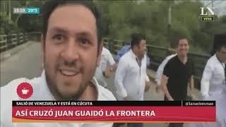 El momento en que Juan Guaidó cruza la frontera de Venezuela y llega a Colombia