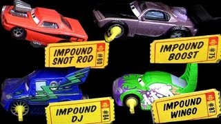 5 impound cars boost wingo dj snot rod lightning mcqueen disney pixar toys review blucollection