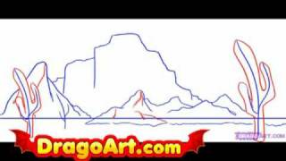 How to draw a desert, step by step