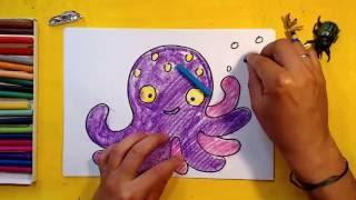 Как нарисовать Осьминога / Урок рисования для детей от 3 лет