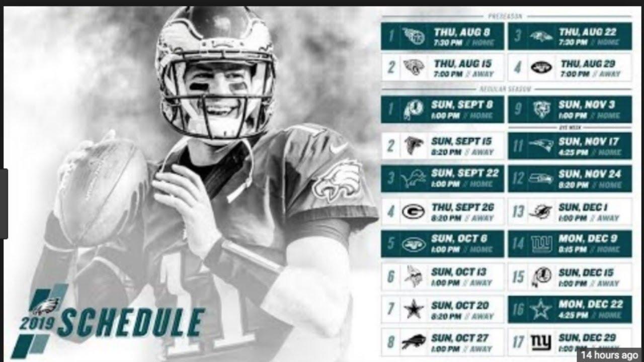 Nfl Eagles Schedule 2020 Philadelphia Eagles Schedule 2019 2020   YouTube