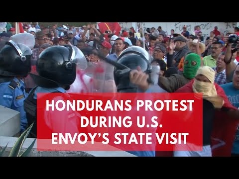 Tear gas flies in Honduras as protests erupt during Nikki Haley's visit