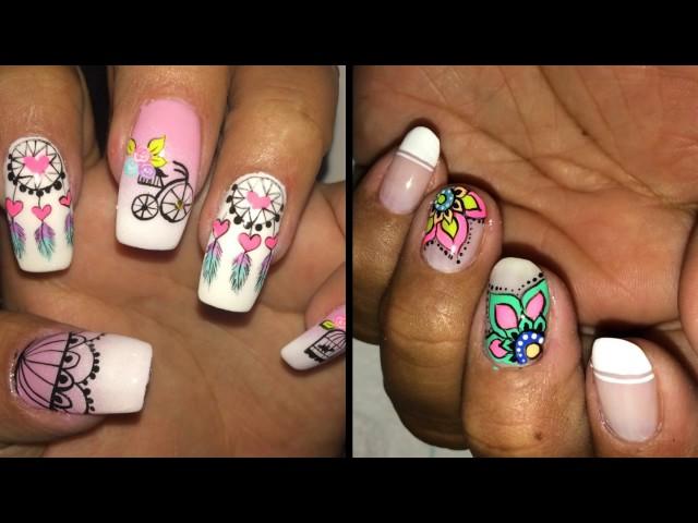 Decoración de uñas vintage 4 Diseños   Vintage nail art  de deko uñas