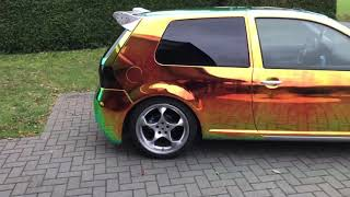 VW Golf 4 Chrom foliert Folie Chromfolie Wrapping Tuning Golf Carwrapping Rainbow