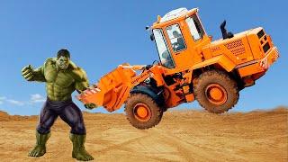 Халк крушит и сломал Трактор Экскаватор. Видео про Экскаватор для детей