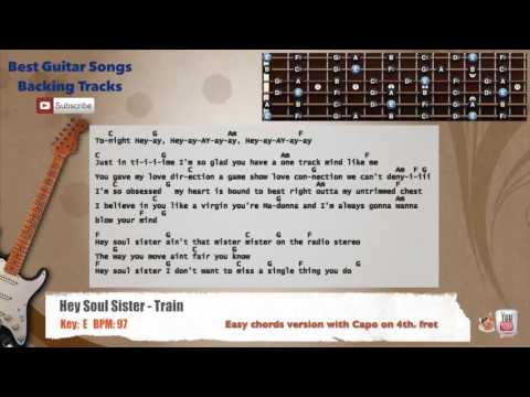 Hey Soul Sister - Train Guitar Backing Track with scale, chords and lyrics