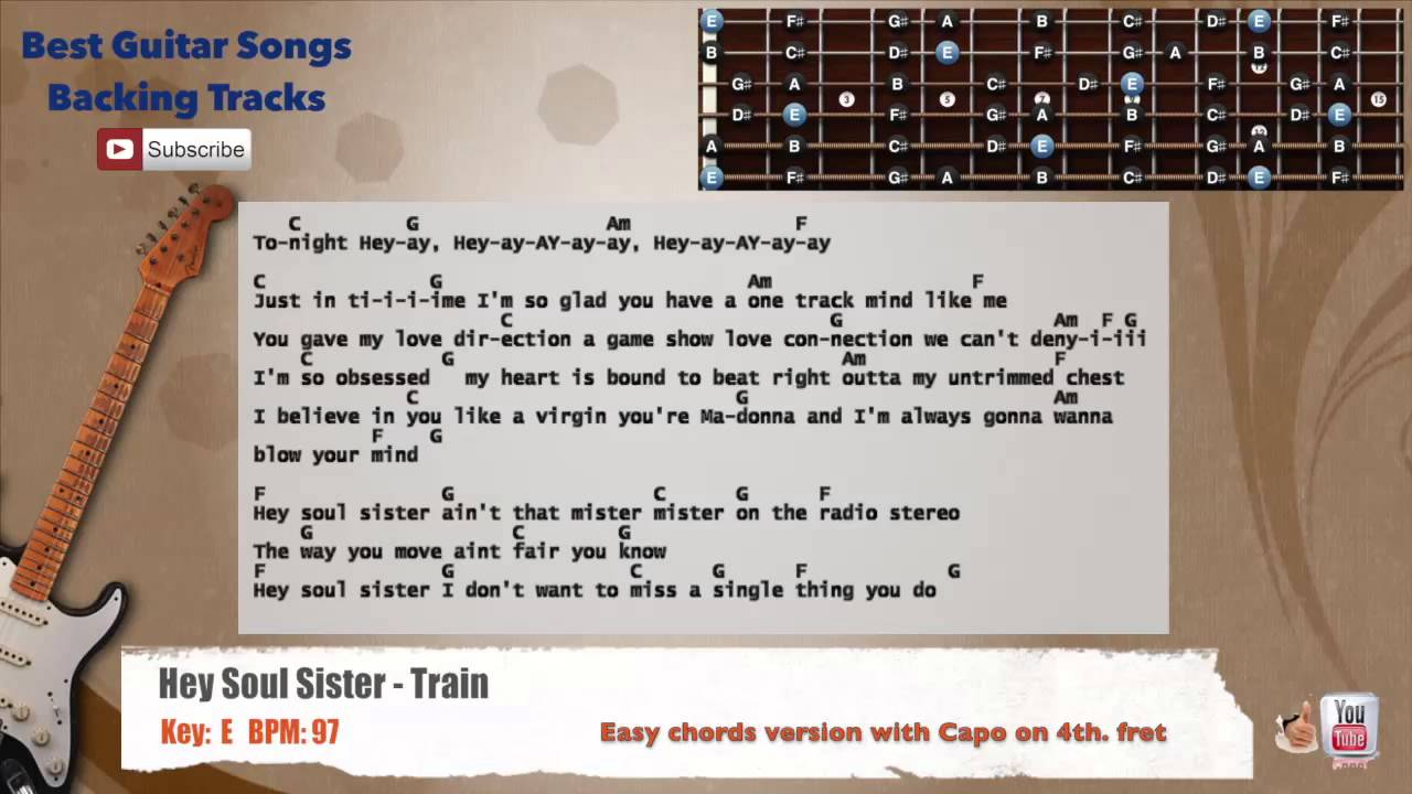 Hey soul sister train guitar backing track with scale chords hey soul sister train guitar backing track with scale chords and lyrics hexwebz Image collections