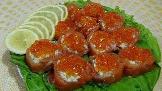 """Рулетики из красной рыбы """"Новогодний деликатес"""".   Rolls of red fish """"New Year delicacy""""."""