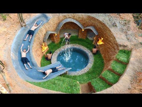 Building Water Slide Swimming Pool Around Secret Underground Village