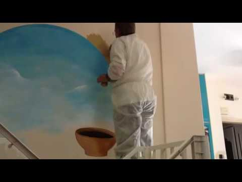 Trompe su parete dipinto a mano - YouTube