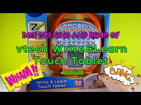 box opening and demo of vtech write and learn touch tablet