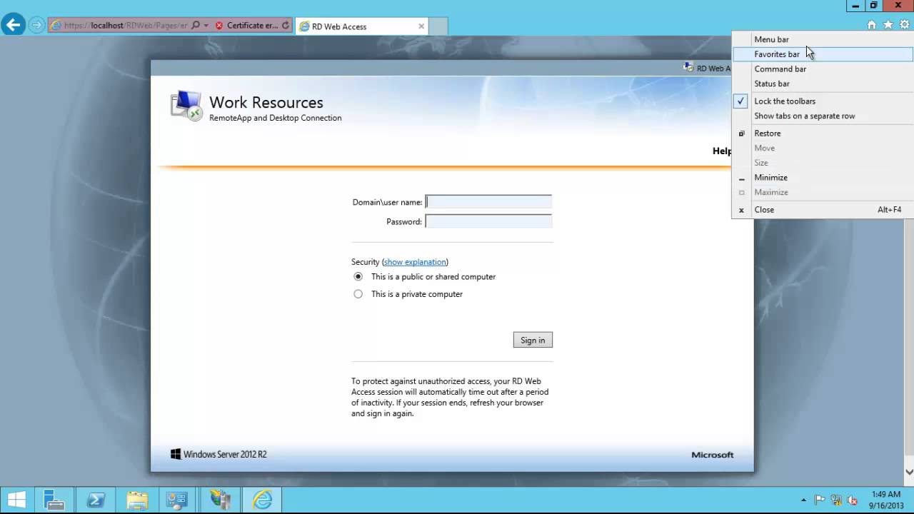 Windows Server 2012 R2 Remote Desktop Services (RDS) Installation And Publish RemoteApp