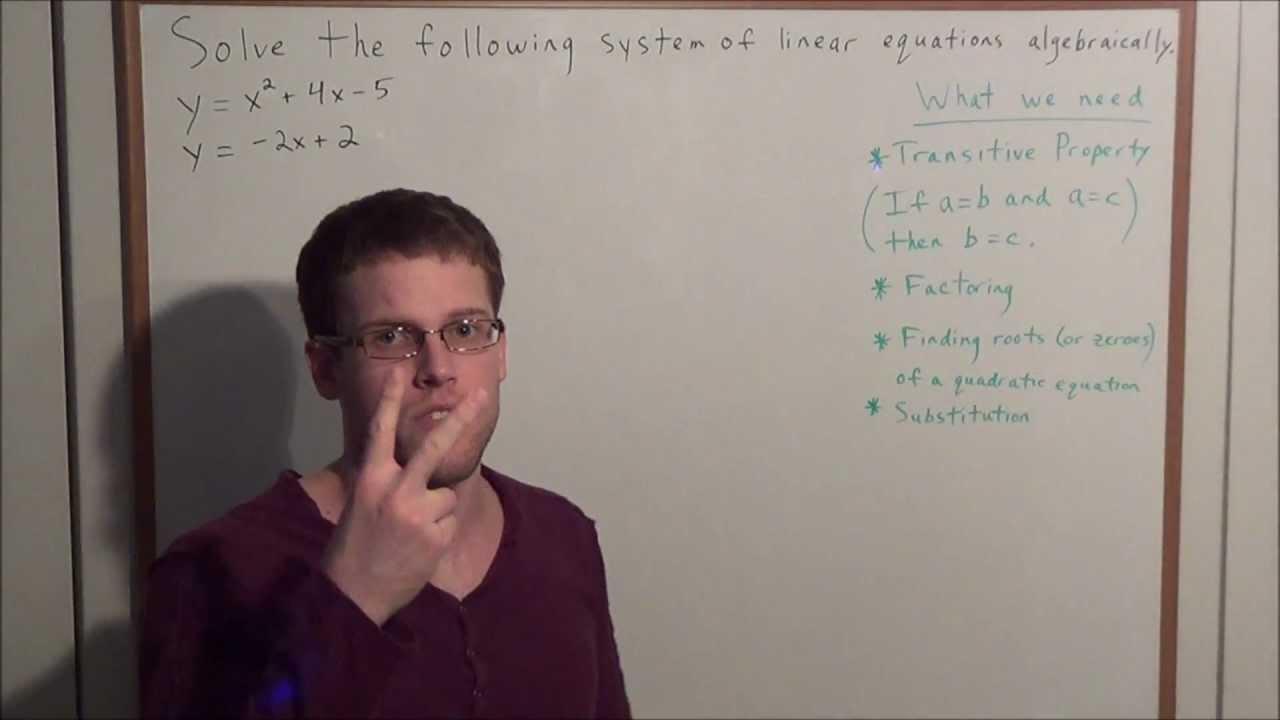 Quadratic Linear System of Equations Algebraically Algebra 2 – Solving Systems of Equations Algebraically Worksheet