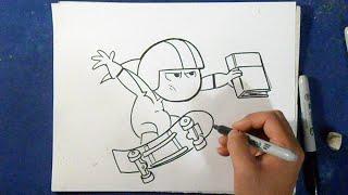 Cómo dibujar a kick buttowski 4 | How to Draw kick buttowski