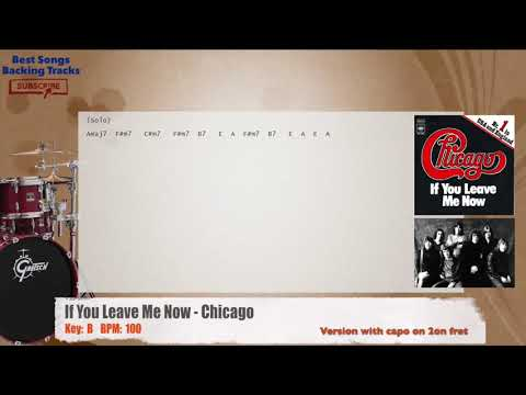 If You Leave Me Now Chicago Drums Backing Track With Chords And