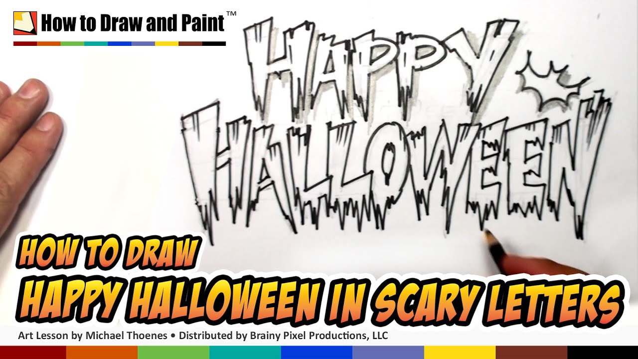 how to draw cool letters - happy halloween in scary letters - art