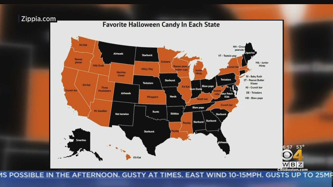 Map Shows Most Popular Halloween Candy For Massachusetts And ...