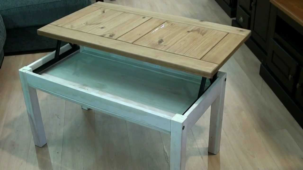 Mesa centro elevable r stica madera maciza 3860 youtube - Mesa salon elevable ...