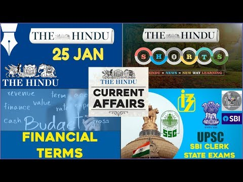 CURRENT AFFAIRS | THE HINDU | 25th January 2018 | SBI CLERK, UPSC,IBPS, SSC,CDS,IB,CLAT
