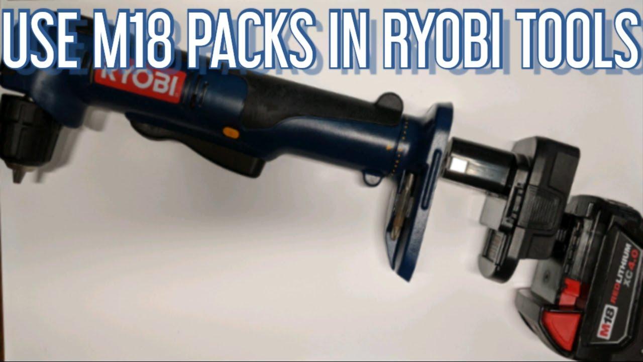 DM18RL Adapter use DeWalt and Milwaukee Packs in Ryobi Tools