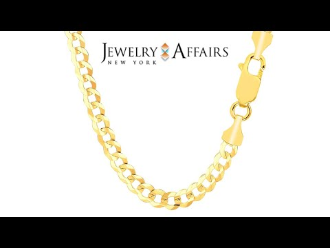 14k Yellow Gold Comfort Curb Chain Necklace, 5 7mm, 30 Inches Length