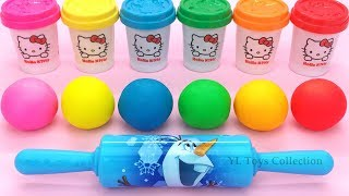 Download Video Learn Colors Hello Kitty Dough with Ocean Tools and Cookie Molds Surprise Toys Kinder Eggs MP3 3GP MP4