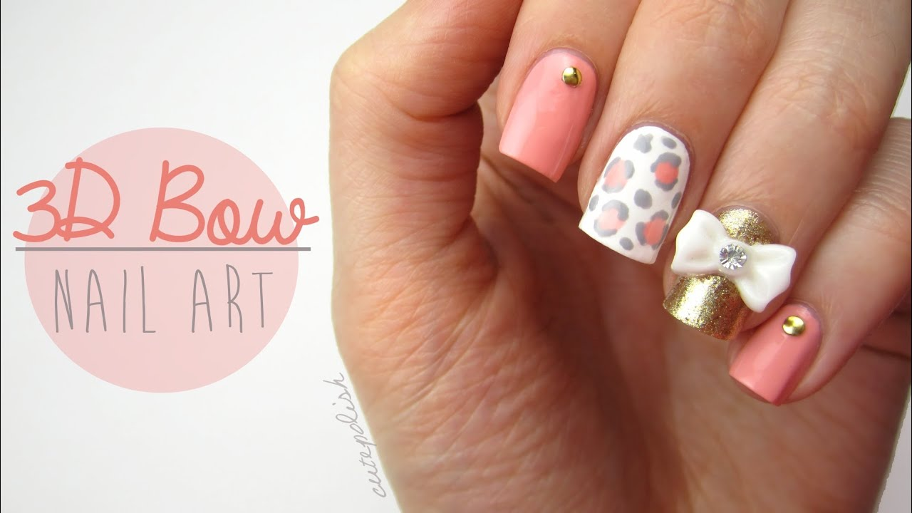 Cute 3d bow nail art youtube prinsesfo Image collections