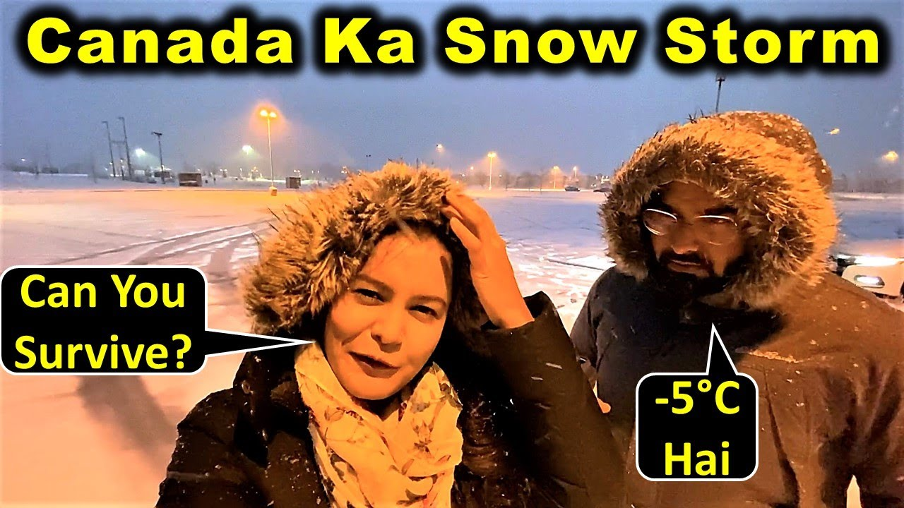 Driving In A Snow Storm 😲 | How Bad Is Canada Winter? | Canada Couple Vlogs
