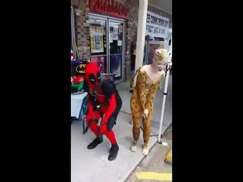 Deadpool and Cheetah Dance during FCBD at 3 Alarm Comics