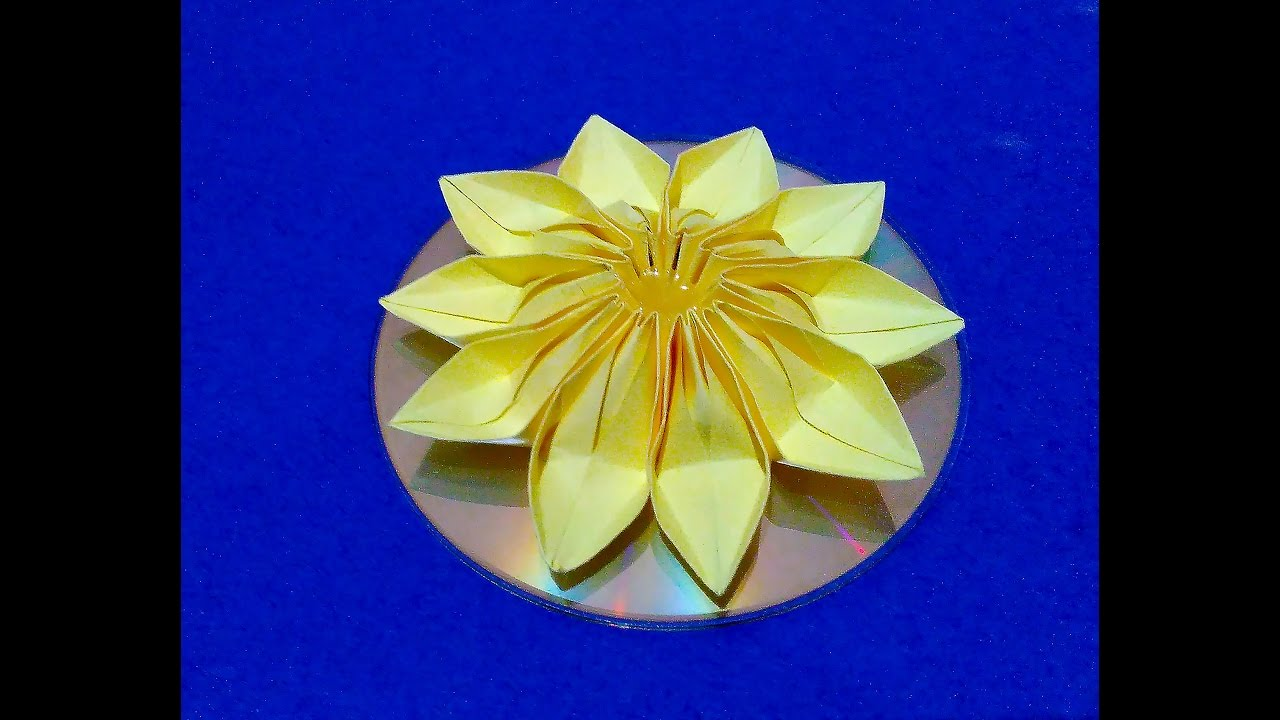 Easy Origami Flower Diy Wall Hanging Decor 3d Flower On Cd Room