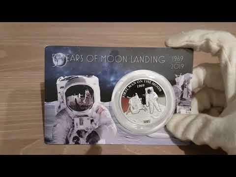 50 years of moon landing Barbados 1 oz silver coin